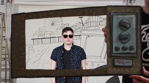 "Mal Blum in a scene from their new video for the song ""Reality TV"""
