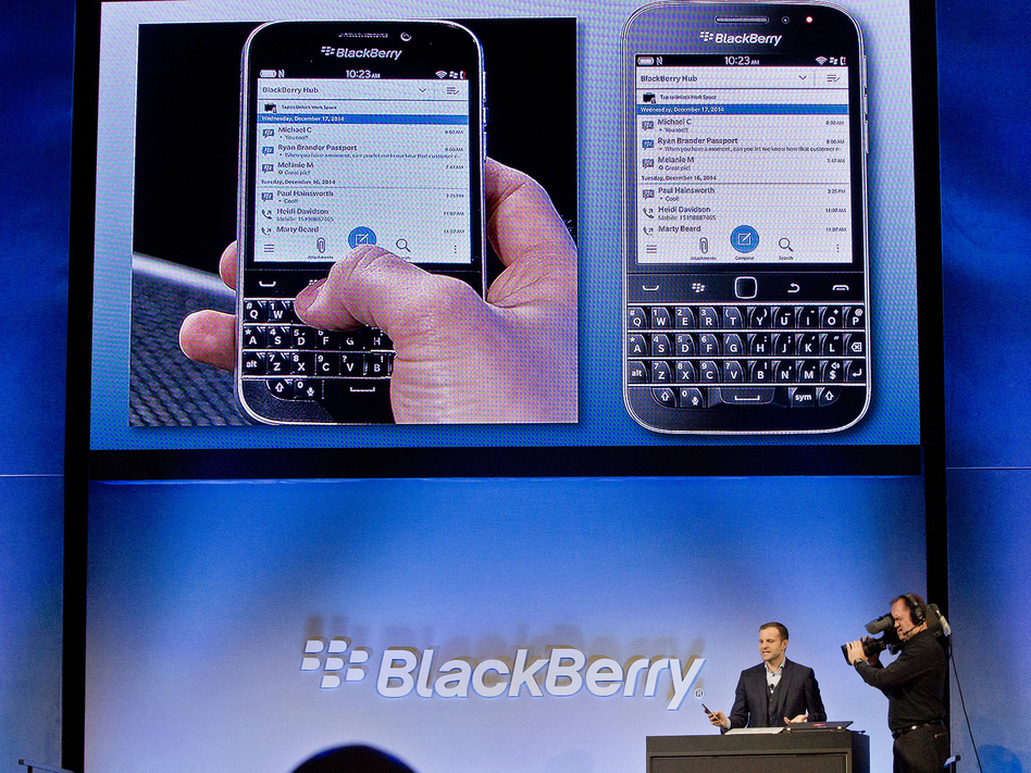 BlackBerry's Director of Marketing and Enterprise Jeff Gadway demonstrates the BlackBerry Classic during a news conference on Dec. 17, 2014. (Bebeto Matthews/AP)