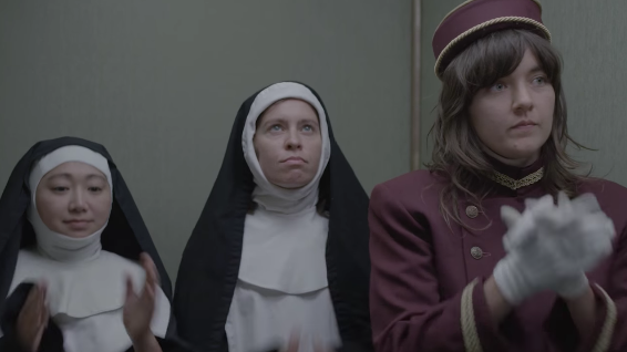 "Courtney Barnett in a scene from her new video for ""Elevator Operator."""