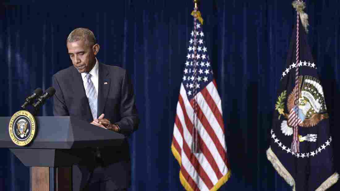 President Barack Obama speaks on the recent police shootings in the U.S. at a hotel in Warsaw early Friday morning.