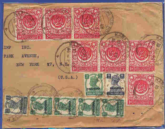 An envelope with early stamps from Pakistan, including the first commemorative stamp (in red) designed by the renowned artist A.R. Chughtai and issued in 1948.