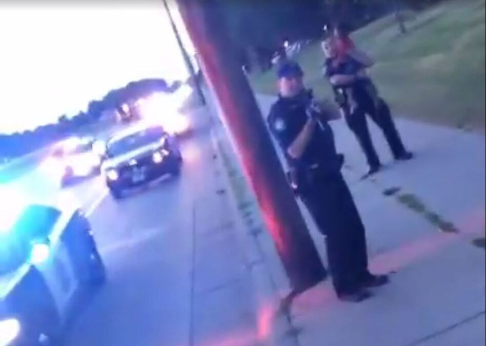 A screenshot from the live video feed that was posted by a woman whose boyfriend was shot and killed in Falcon Heights, Minn., on Wednesday. (Diamond Reynolds via Facebook/Screenshot by NPR)