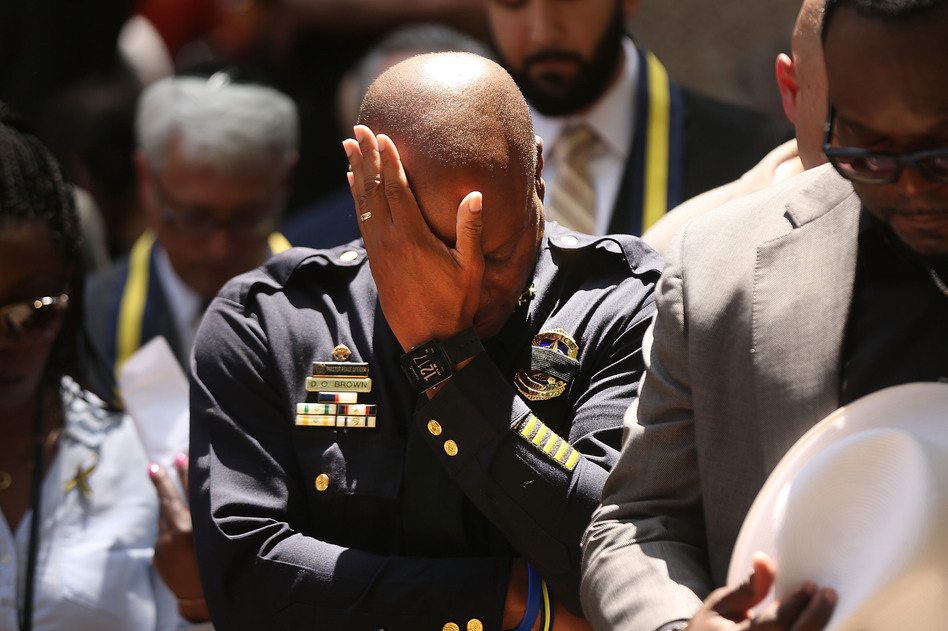 Dallas Police Chief David Brown pauses at a prayer vigil following the deaths of five police officers last night during a Black Lives Matter march. (Spencer Platt/Getty Images)