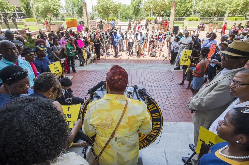 Louisiana state Rep. Patricia Haynes Smith speaks during a rally at City Hall on Friday in Baton Rouge, La. The local NAACP is calling for a boycott of Walmart and two local shopping malls. (Mark Wallheiser/Getty Images)