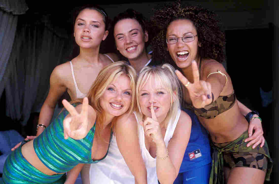 The Spice Girls in 1997, about a year after the release of the group's debut single, which topped the U.K. pop charts for seven weeks.