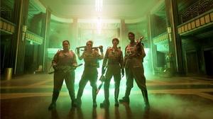 Abby (Melissa McCarthy), Holtzmann (Kate McKinnon), Erin (Kristen Wiig) and Patty (Leslie Jones) inside the Mercado Hotel Lobby in Ghostbusters.