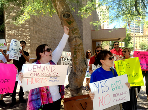 "Consumer advocates took to the streets of Phoenix recently to protest against an Arizona utility's efforts to bill customers using a so-called ""demand charge."" If approved, Arizona Public Service would be the first utility in the country to place most of its residential customers on that kind of rate plan."