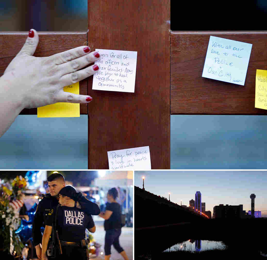 (Top) A parishioner places a prayer to a crucifix before entering a vigil at Cathedral Guadalupe on Friday, in honor of the Dallas police officers who were slain Thursday. (Left) Dallas police officers comfort each other on Friday near police cars decorated as a public memorial at police headquarters. (Right) Buildings in downtown Dallas are lit with blue to support the police.