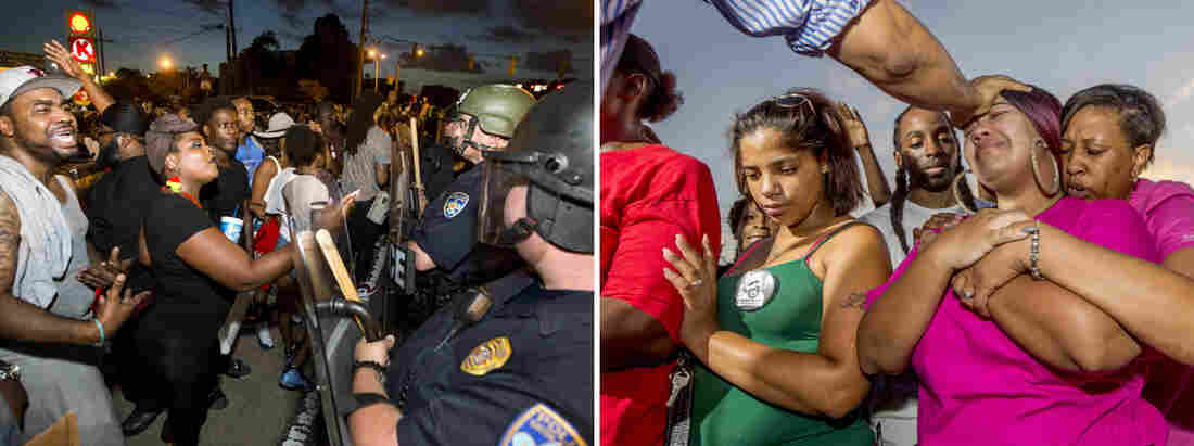 (Left) Protesters face off with Baton Rouge police in riot gear across the street from the police department on Friday in Baton Rouge, La. (Right) Pastor Johnny Young blesses Kaleigh Yates, a first cousin of Alton Sterling, outside the convenience store where he was shot and killed.