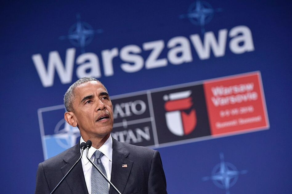 U.S. President Barack Obama addresses a press conference during the second day of the NATO Summit at the Polish National Stadium in Warsaw on Saturday. (Mandel Ngan/AFP/Getty Images)