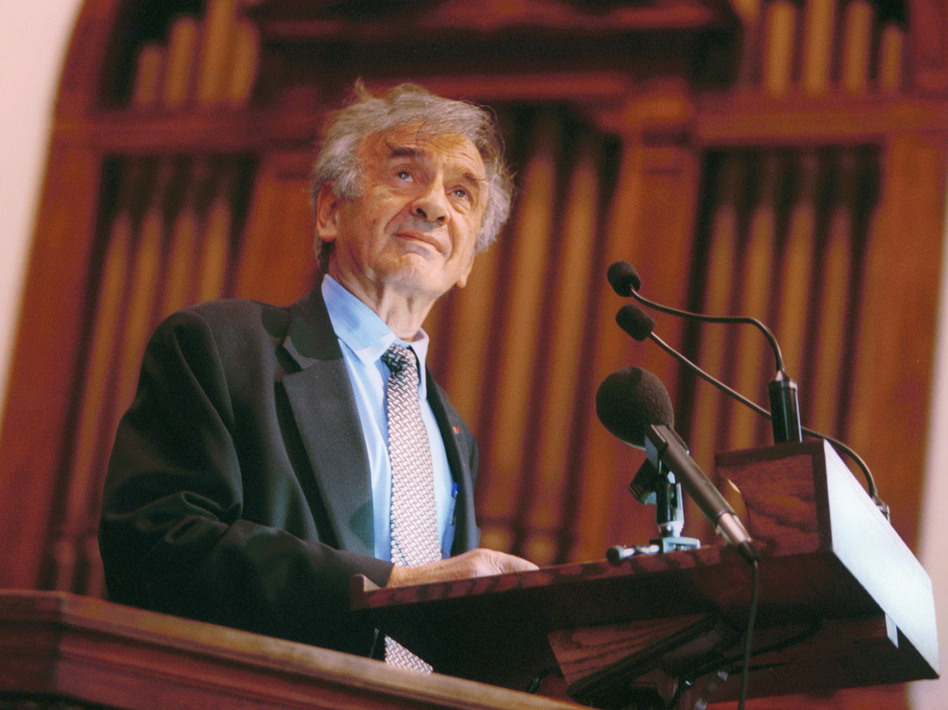 Elie Wiesel speaks at Vermont's Middlebury College in 2002. The Holocaust survivor, Nobel laureate and author died July 2 at the age of 87. (Jordan Silverman/Getty Images)