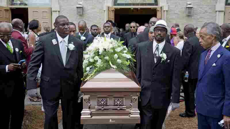 The coffin of Ethel Lance is carried to a hearse following her funeral service on June 25. Lance was one of nine people killed in the shooting at Emanuel AME Church in Charleston, S.C.