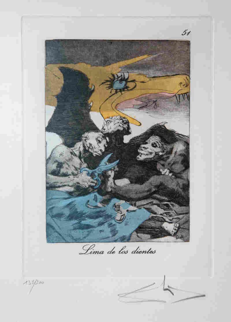 Lima de los dientes, an etching from Les Caprices De Goya De Salvador Dalí