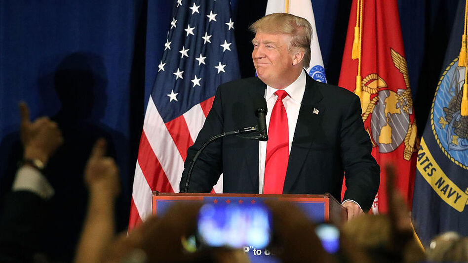 Presidential candidate Donald Trump delivers a speech on veterans' issues during a campaign stop Monday in Virginia Beach, Va. (Getty Images)