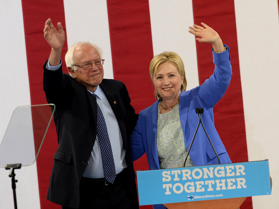Sen. Bernie Sanders, I-Vt Bernie Sanders and Presumptive Democratic presidential nominee Hillary Clinton appear together at Portsmouth, N.H. High School where Sanders endorsed Clinton for president of the United States. (Darren McCollester/Getty Images)