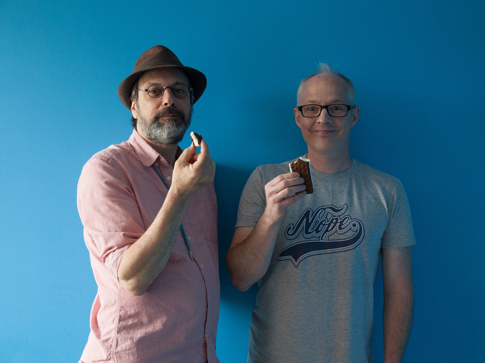 <em>All Songs Considered</em> hosts Bob Boilen (left) and Robin Hilton, high on ice cream sandwiches, music.