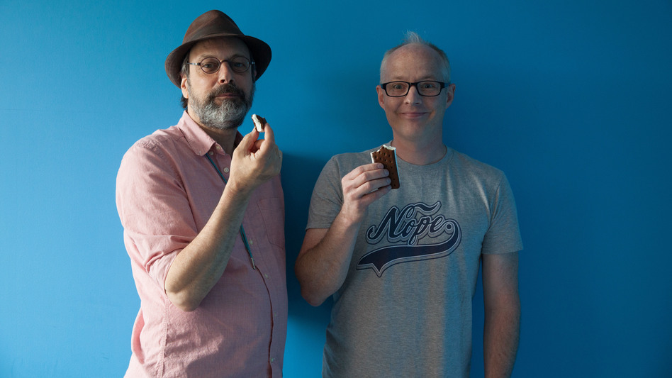 All Songs Considered hosts Bob Boilen (left) and Robin Hilton, high on ice cream sandwiches, music. (NPR)