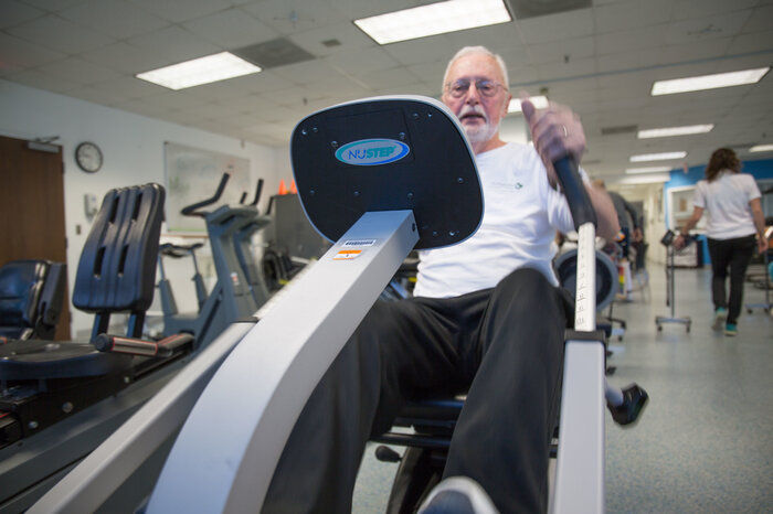 Charles Greiner gets his heart rate up — with supervision — at the U.Va. cardiac rehabilitation gym in Charlottesville, Va.