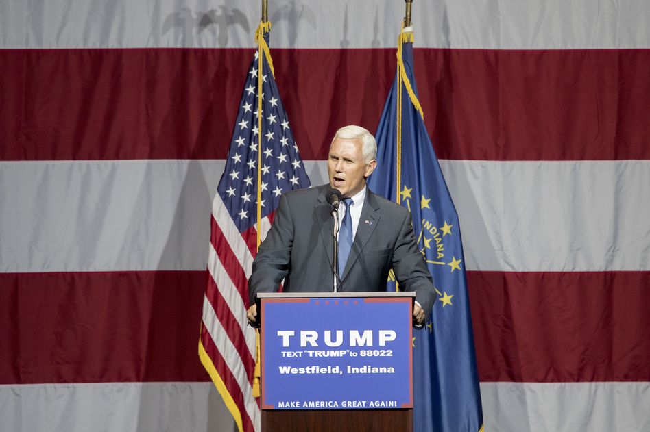 Indiana Gov. Mike Pence delivers a speech during a campaign rally for Donald Trump in Westfield, Ind., on Tuesday. (Aaron P. Bernstein/Getty Images)