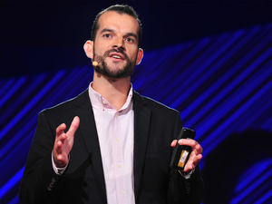Sam Sternberg on the TEDMED stage.