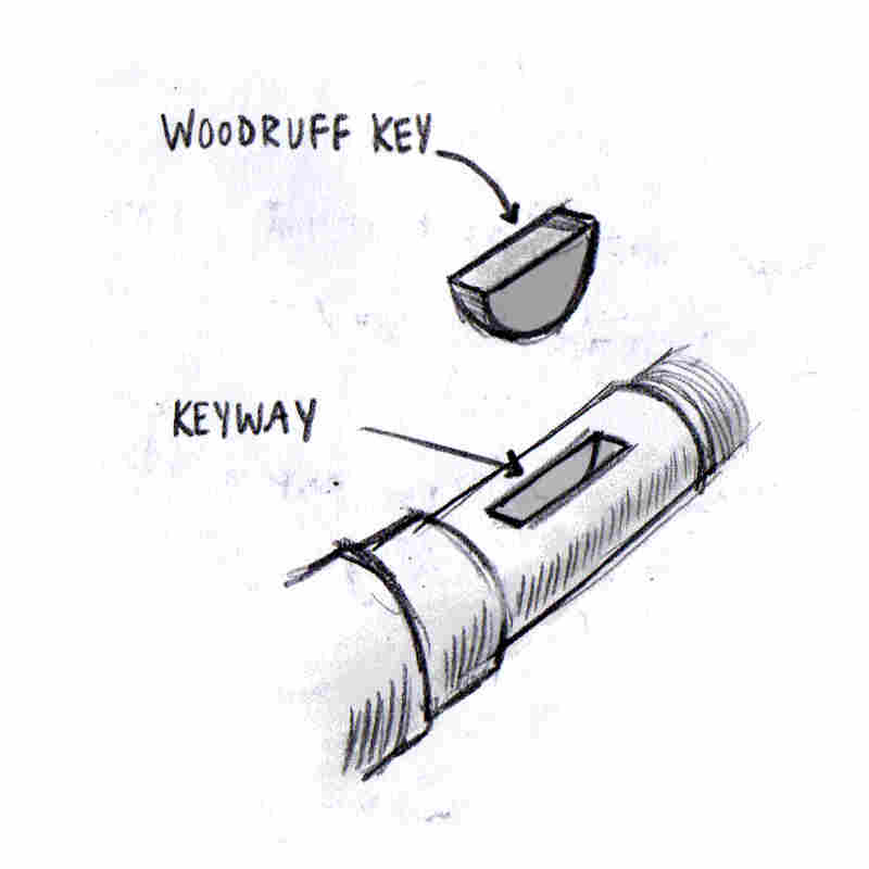 Illustration of a woodruff key