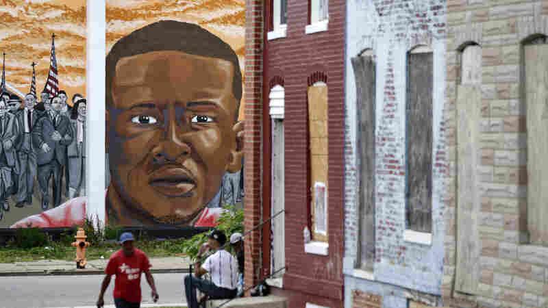 A mural depicting Freddie Gray is seen in Baltimore last month.