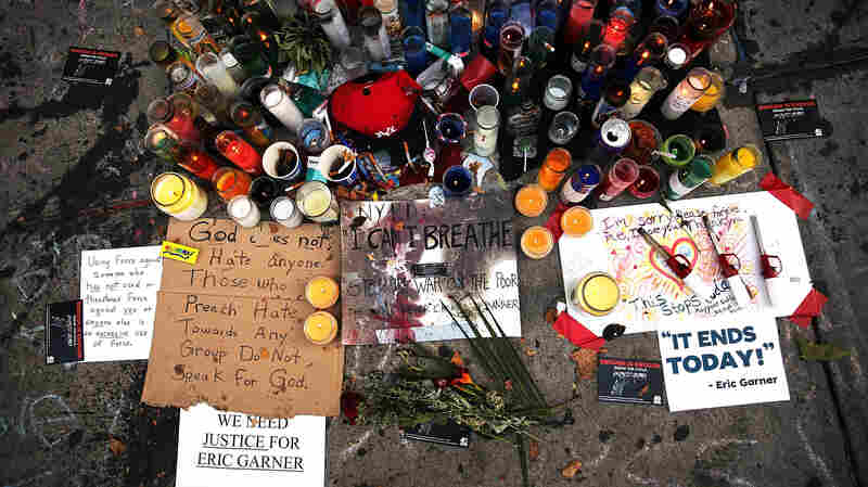 A memorial for Eric Garner, seen July 22, 2014, lies near where he died in Staten Island, N.Y.
