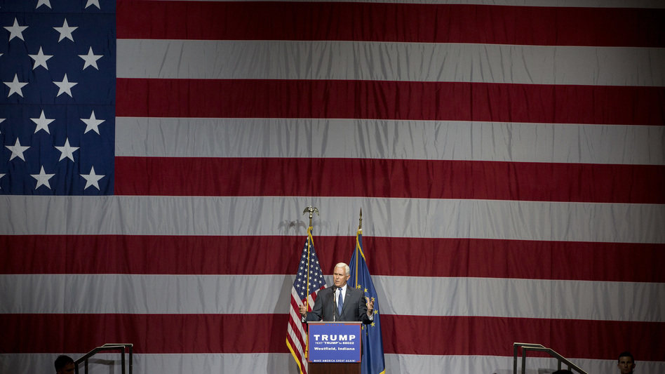 Indiana Gov. Mike Pence introduces Republican presidential candidate Donald Trump earlier this month. (Aaron P. Bernstein/Getty Images)