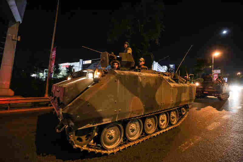 Members of the Turkish military move in the main streets in Istanbul.