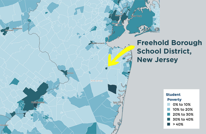 "A close look at New Jersey's school districts shows ""island"" districts with higher levels of poverty than the surrounding districts."