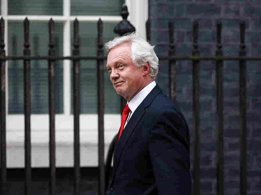 David Davis arrives to be named as Brexit Chief after a meeting with U.K. Prime Minister Theresa May on Wednesday.
