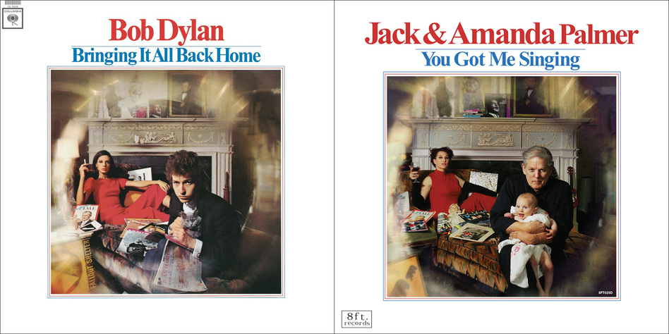 Amanda and Jack Palmer re-created the cover art from Bob Dylan's Bringing It All Back Home for their own album, You Got Me Singing. (Courtesy of the artist)