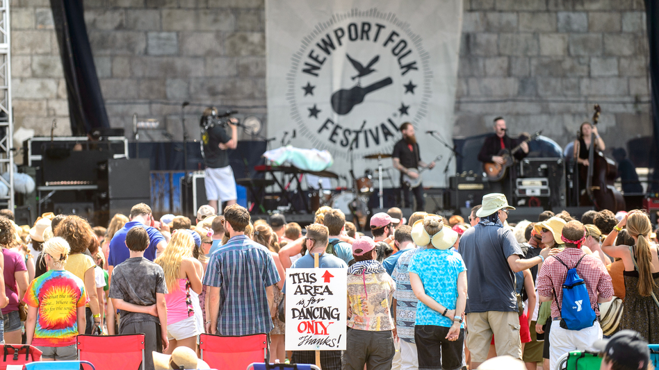 This area is for dancing only, at the Newport Folk Festival! (NPR)