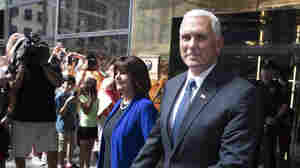 Pence and his wife, Karen, leave a meeting with Trump in New York on Friday.