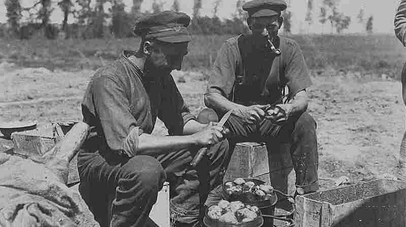 Two Canadian soldiers peel potatoes during World War I.