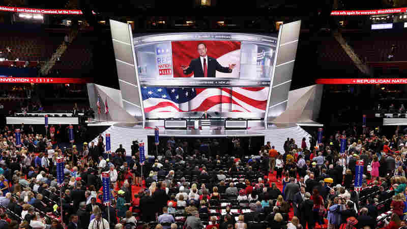 Reince Priebus, chairman of the Republican National Committee, speaks to the delegates on start of the first day of the Republican National Convention. An estimated 50,000 people are expected in Cleveland, including hundreds of protesters and members of the media.