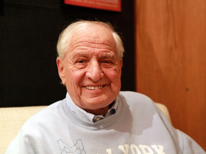 Director Garry Marshall poses in 2014 at New York's Vineyard Theatre, where he was directing the play Billy & Ray, about the making of the classic film Double Indemnity. Marshall, who created TV's Laverne & Shirley and Happy Days, said he was attracted to the play because he's usually associated with light, romantic fare.