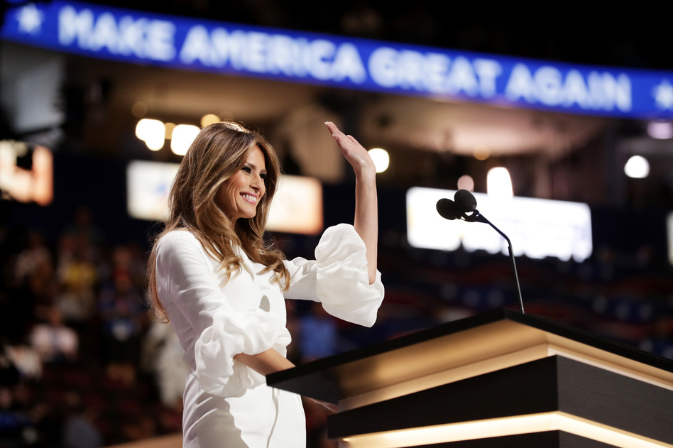 Melania Trump, wife of Republican presidential nominee Donald Trump, waves to the crowd after delivering a speech on the first day of the Republican National Convention. (Chip Somodevilla/Getty Images)