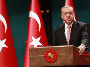 Turkish President Recep Tayyip Erdogan speaks during a news conference following the National Security Council and Cabinet meetings at the Presidential Palace in Ankara on Wednesday.