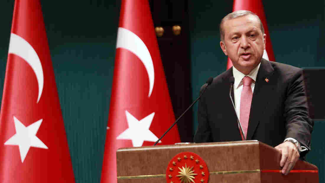 Turkish President Recep Tayyip Erdogan speaks during a news conference following the National Security Council and cabinet meetings at the Presidential Palace in Ankara, on Wednesday.