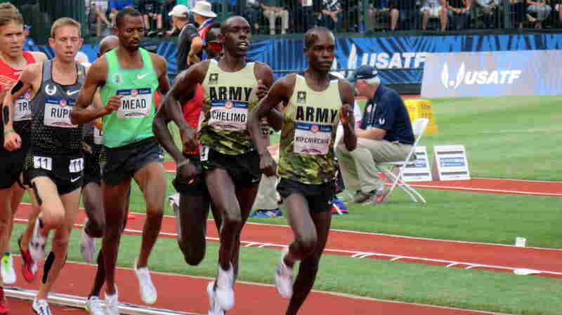 Two members of the U.S. Army lead the pack in the 5,000 meters at the U.S. Olympic Trials earlier this month in Eugene, Ore. Shadrack Kipchirchir (right), did not make the team in the 5,000, but did qualify in the 10,000. Paul Chelimo (second from right), qualifed in the 5,000.