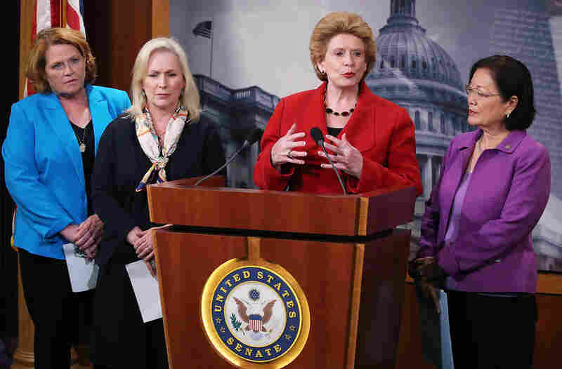 Sen. Debbie Stabenow (D-MI), speaks about the Senate's recent failed vote for funding to fight the Zika virus, on Capitol Hill June 29, 2016 in Washington, DC. Also pictured are Sen. Heidi Heitkamp (D-ND), (L), Sen. Kirsten Gillibrand (D-NY), (2nd-L), and Sen. Mazie Hirono (D-HI), (R). (Photo by Mark Wilson/Getty Images)