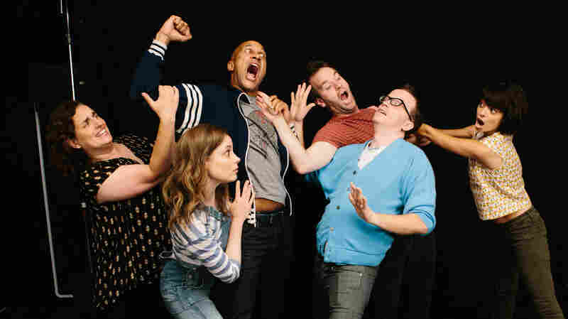Tami Sagher (left), Gillian Jacobs, Keegan-Michael Key, Mike Birbiglia, Chris Gethard and Kate Micucci star in Don't Think Twice, about a improv troupe called The Commune.