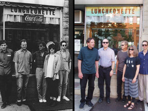 The Feelies in a press photo from 1988, and standing in front of the same diner in 2011.