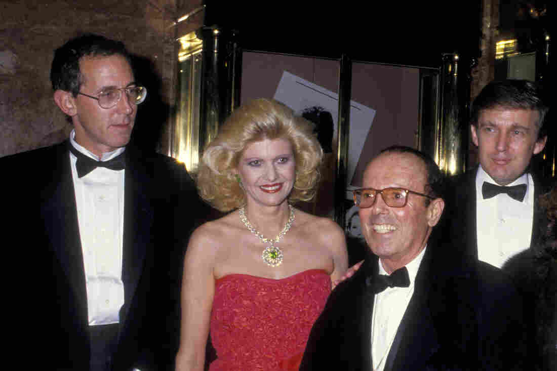 Tony Schwartz (left), Ivana Trump, photographer Francesco Scavullo, Donald Trump and unidentified guest celebrate the publication of Donald Trump's 1987 book, The Art of the Deal, which was ghostwritten by Schwartz.