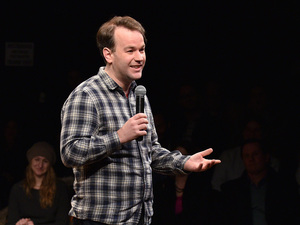 "Mike Birbiglia says his new film, Don't Think Twice, is like a ""Big Chill-type comedy set in the world of an improv theater."""