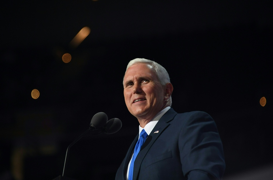 Vice presidential candidate Mike Pence addresses delegates on Wednesday evening at the Republican National Convention. (Jim Watson/AFP/Getty Images)