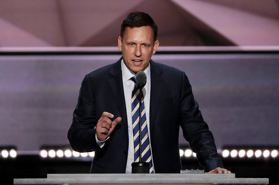 Peter Thiel, co-founder of PayPal, delivers a speech during the final evening session of the Republican National Convention. (Alex Wong/Getty Images)