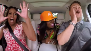 First lady Michelle Obama sings with rapper Missy Elliott and Late Late Show host James Corden.