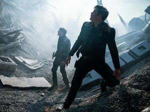Anton Yelchin and Chris Pine in Star Trek: Beyond.
